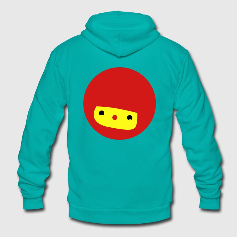 chibi cute anime face kawaii red Zip Hoodies/Jackets - Unisex Fleece Zip Hoodie by American Apparel