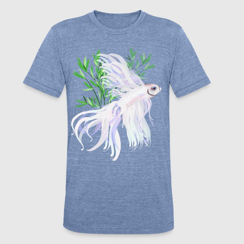 White Siamese Fighting Fish - Unisex Tri-Blend T-Shirt by American Apparel