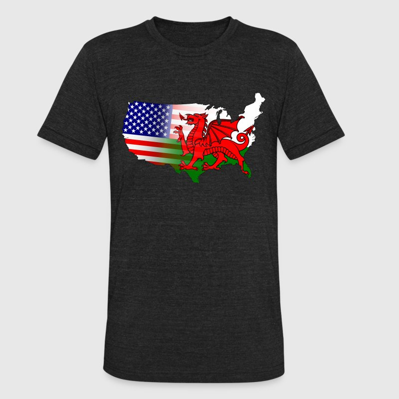 Welsh American Flag T-Shirts - Unisex Tri-Blend T-Shirt by American Apparel