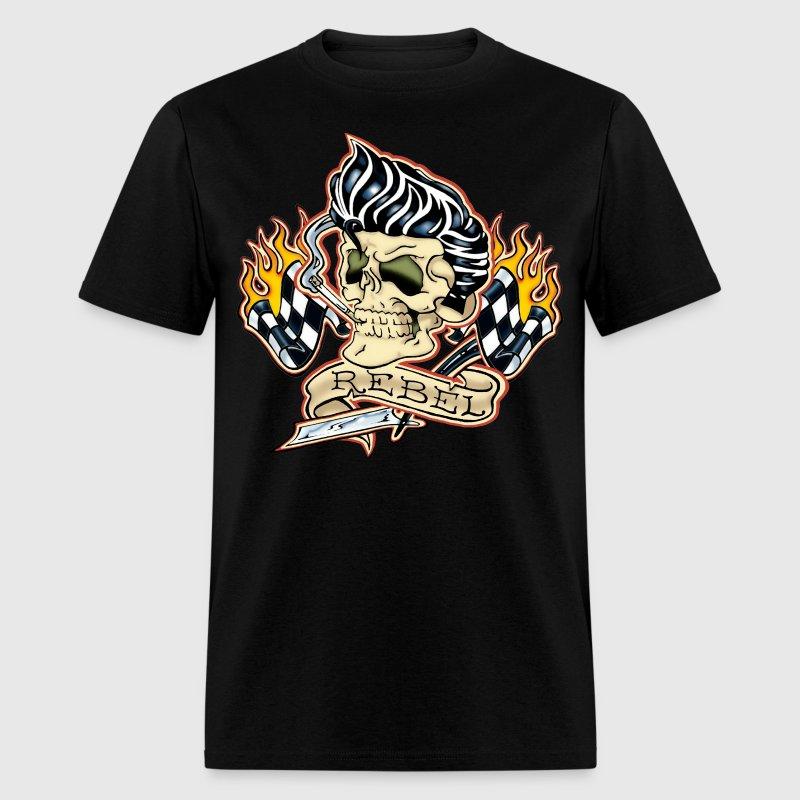 rockabilly rebel tattoo skull t shirt spreadshirt. Black Bedroom Furniture Sets. Home Design Ideas