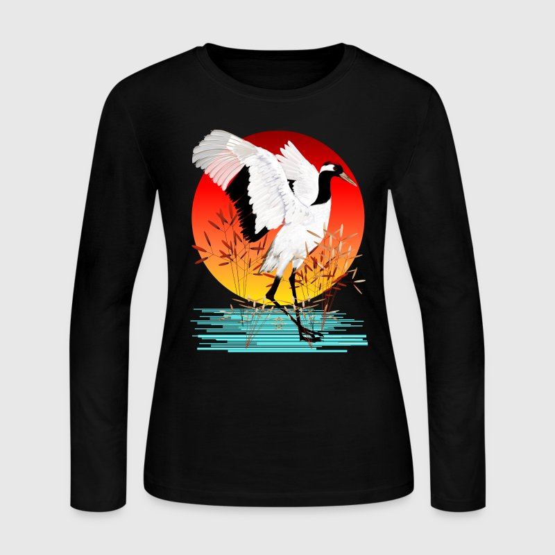 Red-Crowned Crane and Setting Sun - Women's Long Sleeve Jersey T-Shirt