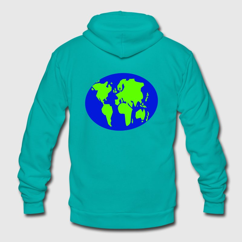 simple simple world map GLOBE Zip Hoodies/Jackets - Unisex Fleece Zip Hoodie by American Apparel