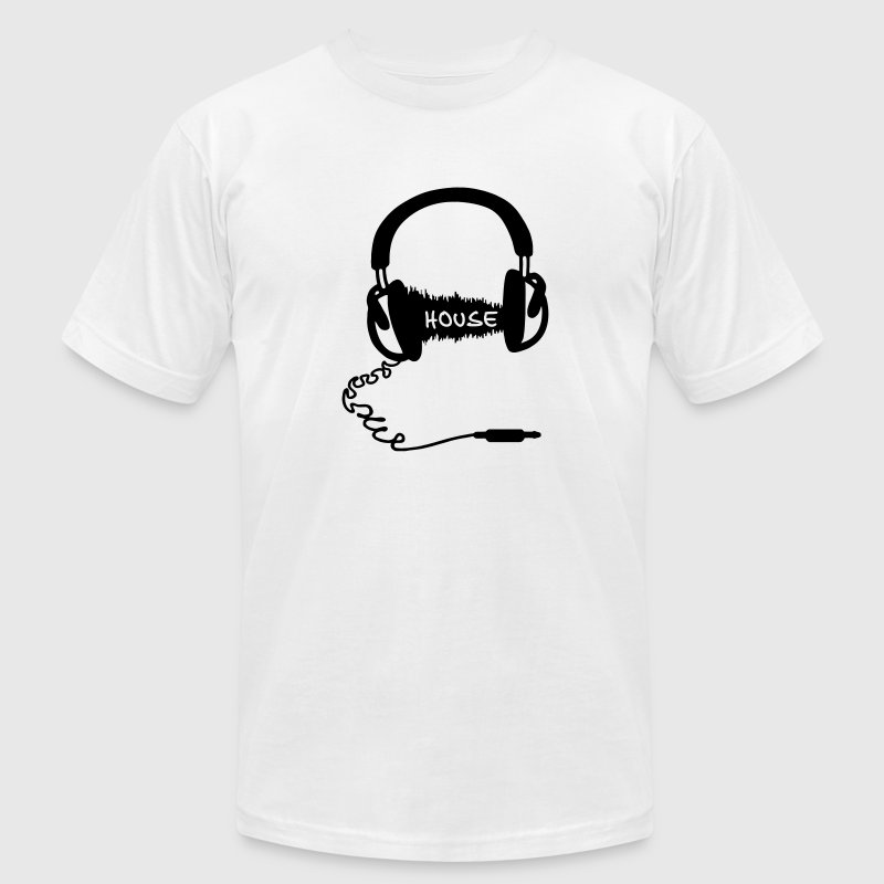 Headphones Headphones Audio Wave Motif: House Music T-Shirts - Men's T-Shirt by American Apparel
