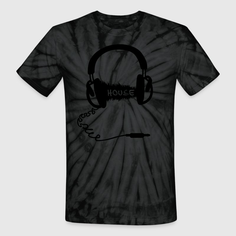 Headphones Headphones Audio Wave Motif: House Music T-Shirts - Unisex Tie Dye T-Shirt
