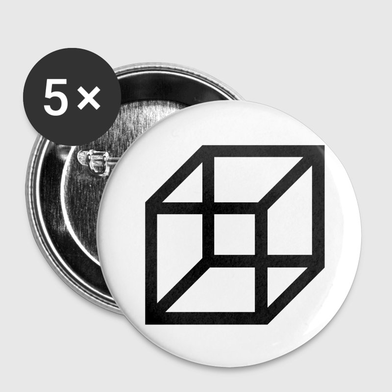 necker cube - reversible figure Buttons - Small Buttons