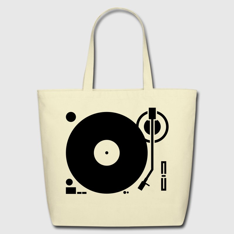 headphones record disc platter disk dj play vinyl spin Bags  - Eco-Friendly Cotton Tote