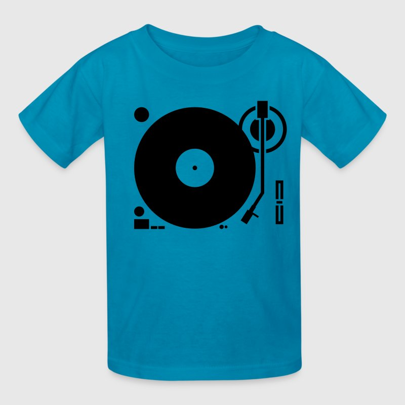 headphones record disc platter disk dj play vinyl spin Kids' Shirts - Kids' T-Shirt