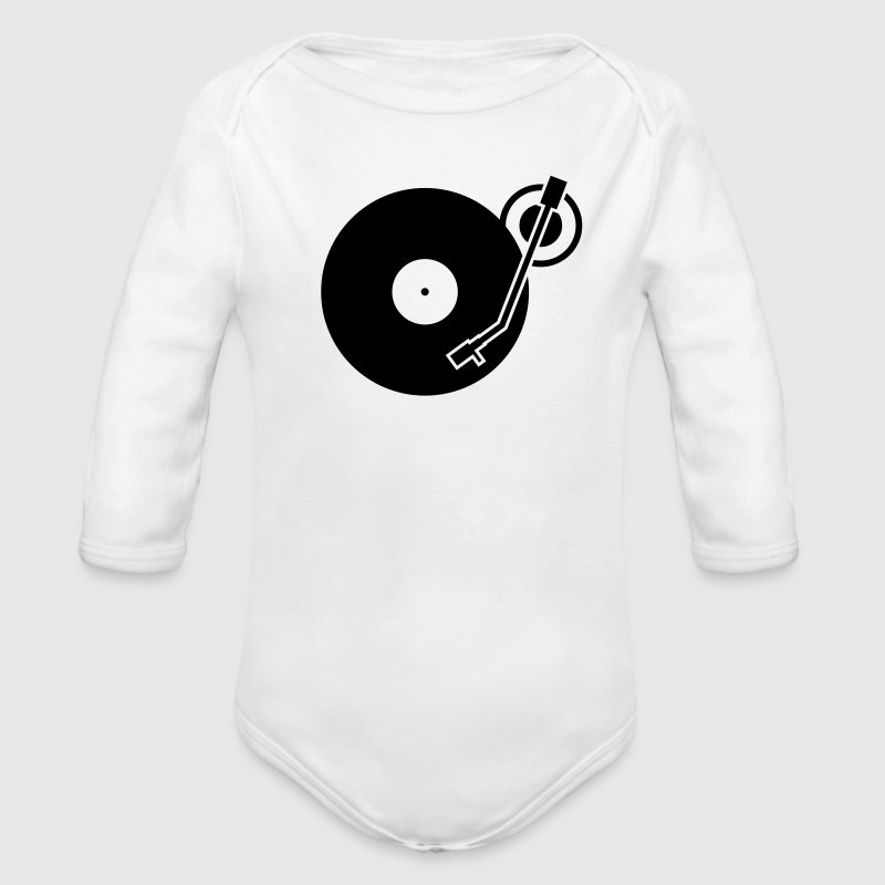 headphones record disc platter disk dj record play techno minimal Baby Bodysuits - Long Sleeve Baby Bodysuit
