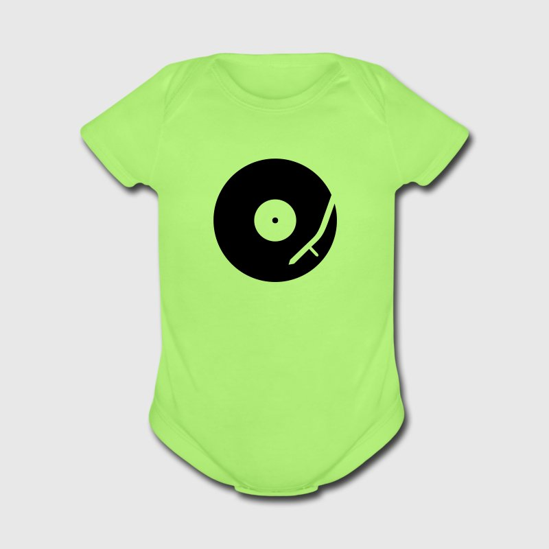 headphones record disc platter disk dj record play techno minimal club music spin Baby Bodysuits - Short Sleeve Baby Bodysuit