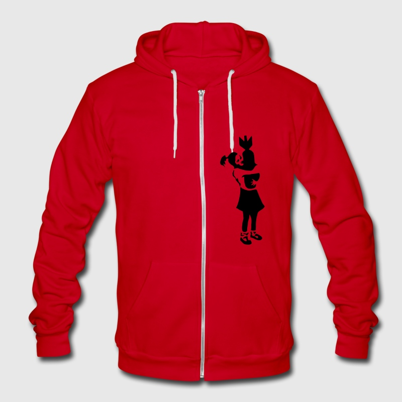 Girl with Bomb Banksy Zip Hoodies/Jackets - Unisex Fleece Zip Hoodie by American Apparel