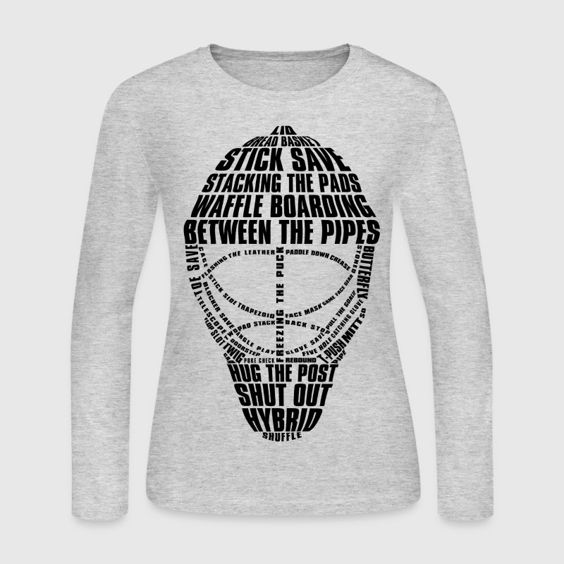 Hockey Goalie Mask (black design) Long Sleeve Shirts - Women's Long Sleeve Jersey T-Shirt