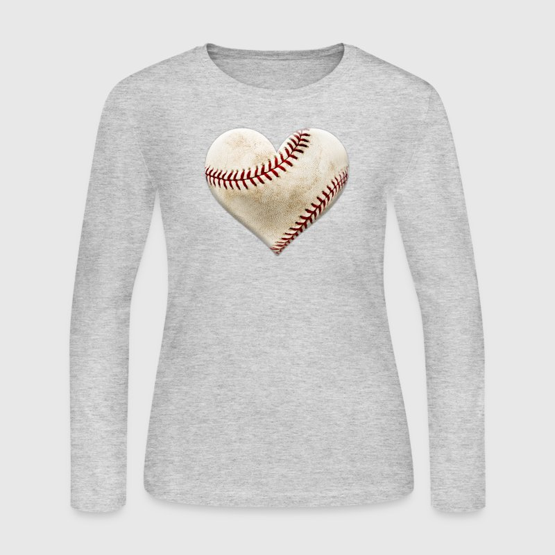Baseball Heart Long Sleeve Shirts - Women's Long Sleeve Jersey T-Shirt