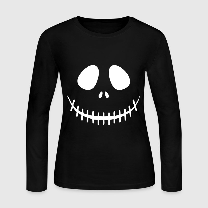 Skeleton Face Long Sleeve Shirts - Women's Long Sleeve Jersey T-Shirt