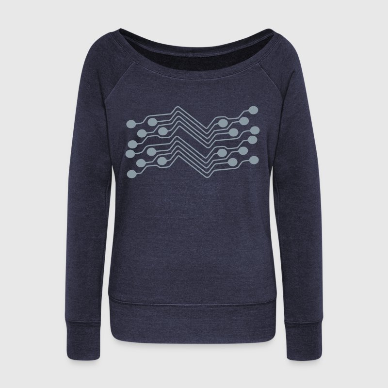circuit board pattern Long Sleeve Shirts - Women's Wideneck Sweatshirt