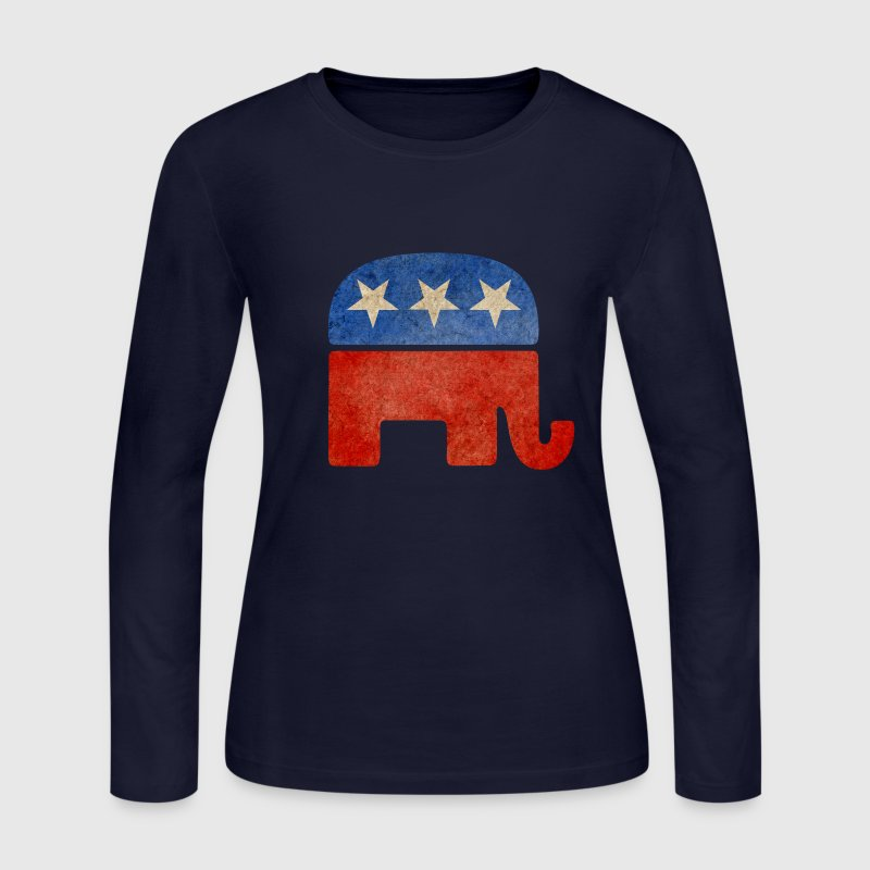 Grunge Republican Elephant Long Sleeve Shirts - Women's Long Sleeve Jersey T-Shirt