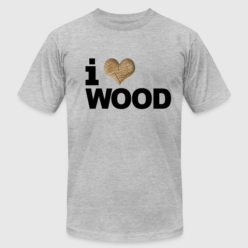 i love or heart wood design american apparel tee - Men's T-Shirt by American Apparel
