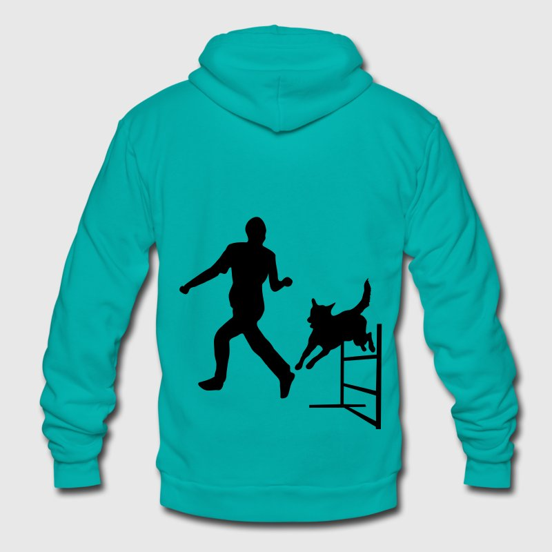 Dog Jumps Agility Hurdle Zip Hoodies/Jackets - Unisex Fleece Zip Hoodie by American Apparel