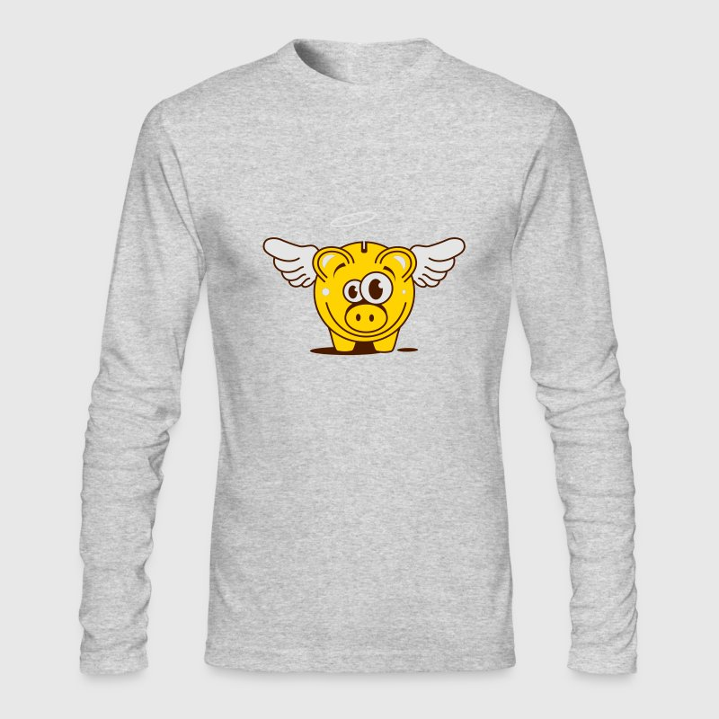 A funny piggy bank with wings  Long Sleeve Shirts - Men's Long Sleeve T-Shirt by Next Level