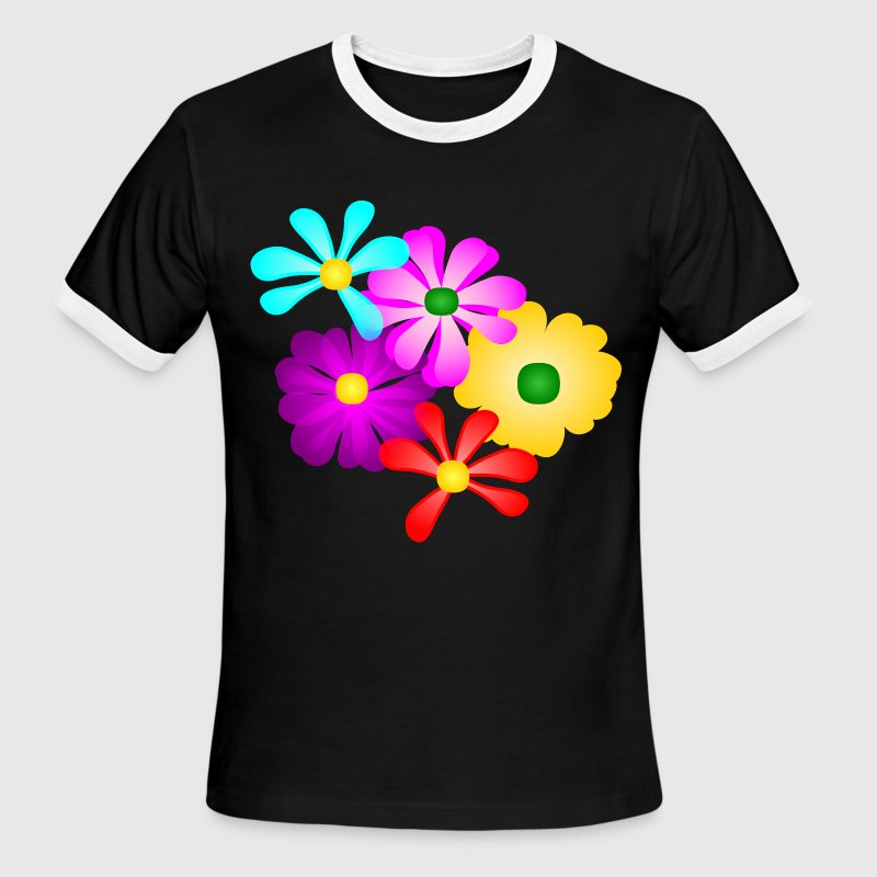 Gorgeous Tropical Flowers, Multi-Color--DIGITAL DIRECT PRINT T-Shirts - Men's Ringer T-Shirt