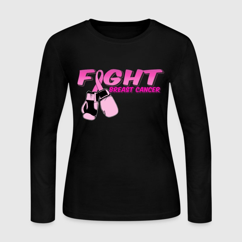 Fight Breast Cancer Pink Boxing Gloves 2 Long Sleeve Shirts - Women's Long Sleeve Jersey T-Shirt