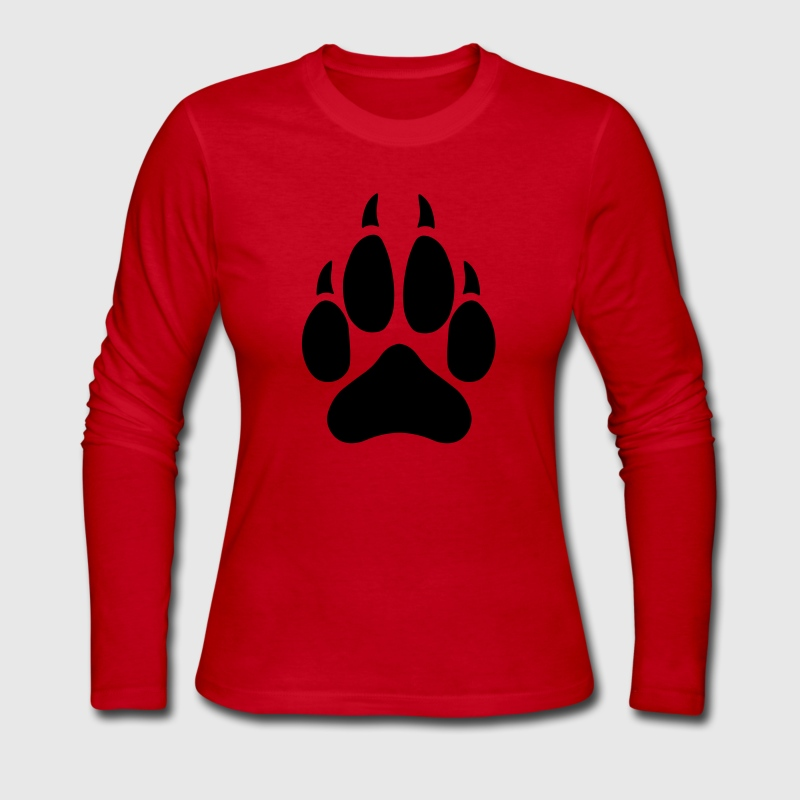 Wolf Paw Long Sleeve Shirts - Women's Long Sleeve Jersey T-Shirt
