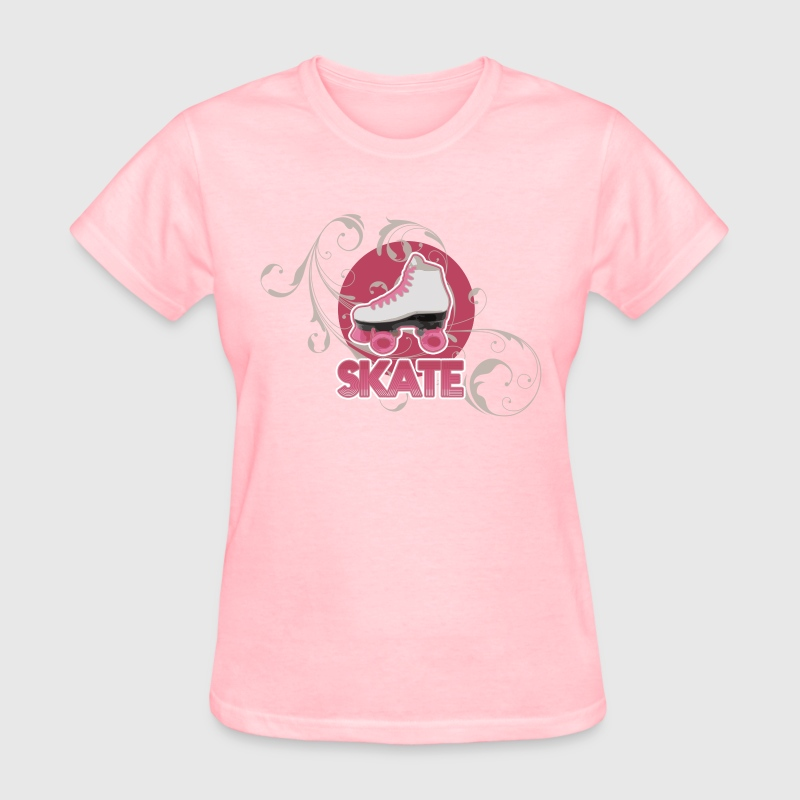 White and Pink Roller Skate Ladies' Skating or Roller Derby T-Shirt - Women's T-Shirt
