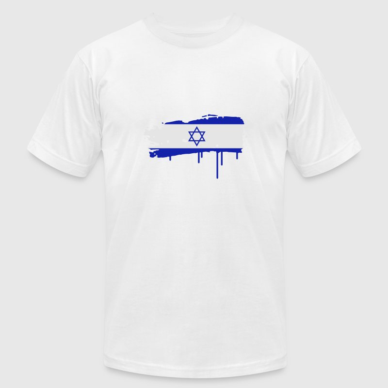 Israeli flag painted with a brush stroke T-Shirts - Men's T-Shirt by American Apparel