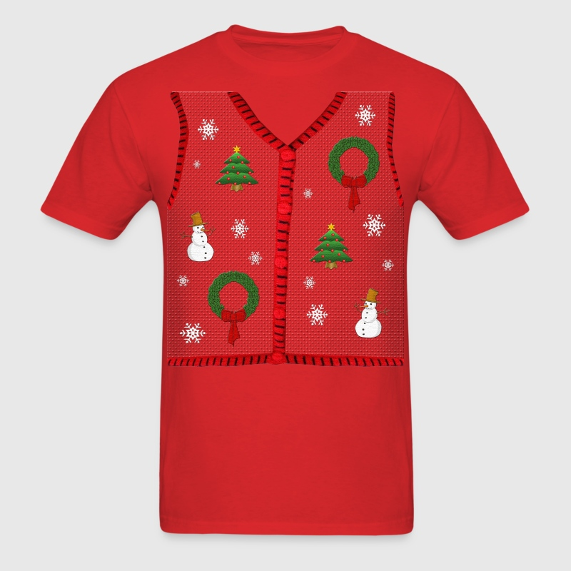 Funny Ugly Christmas Sweater Vest Design T-Shirt - Men's T-Shirt