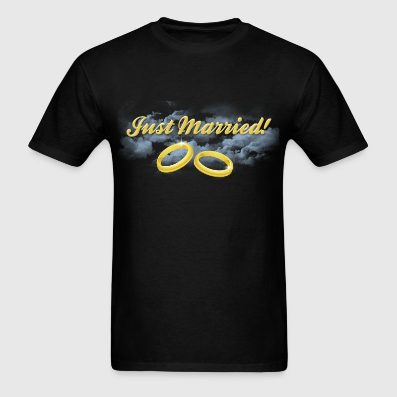Just Married Gold Rings, Gold Lettering T-Shirts - Men's T-Shirt