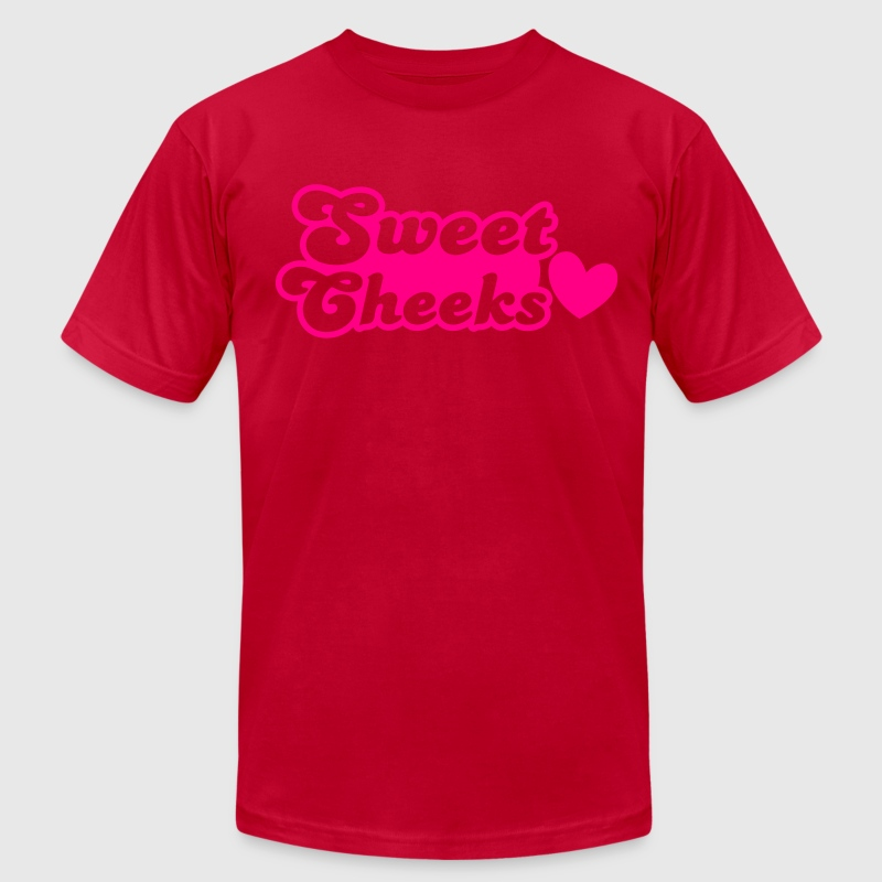 sweet cheeks with cute little love heart T-Shirts - Men's T-Shirt by American Apparel