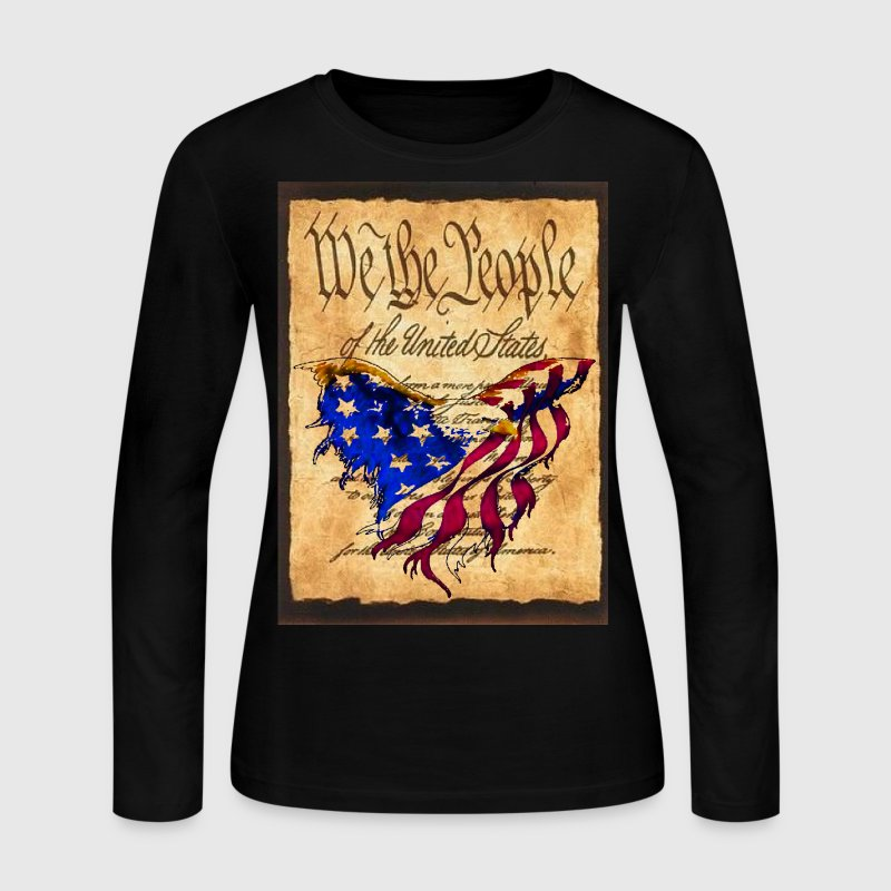 We The People American Eagle Flag Short Sleeve Woman's Long Sleeve T-Shirt w/design on Front - Women's Long Sleeve Jersey T-Shirt