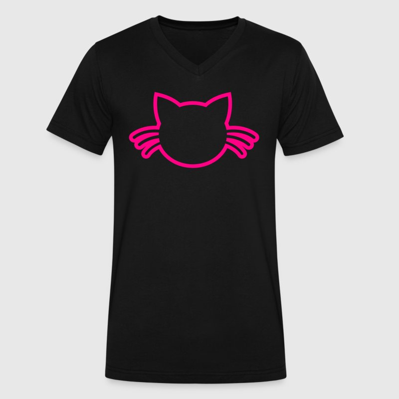 cat with whiskers outline T-Shirts - Men's V-Neck T-Shirt by Canvas