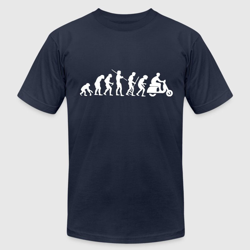 Motorcycle Rider Evolution Scooter Vespa White - Men's T-Shirt by American Apparel