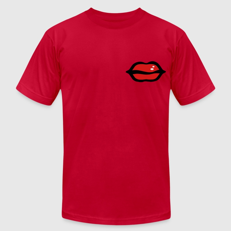 big red sexy lips vector graphic art Men's T-Shirt by American Apparel - Men's T-Shirt by American Apparel