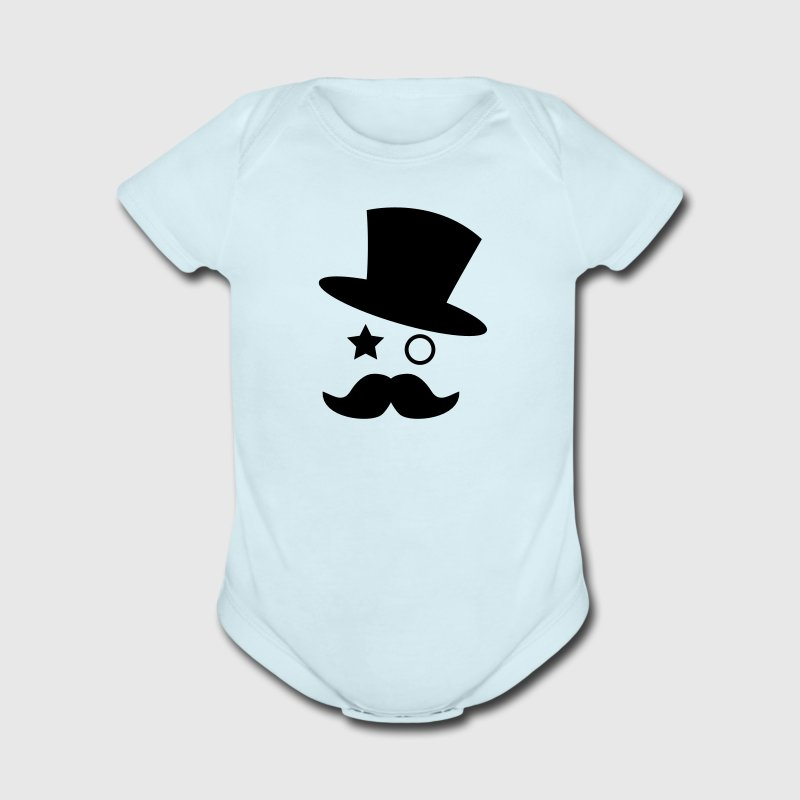 top hat and monocle with mustache Baby Bodysuits - Short Sleeve Baby Bodysuit