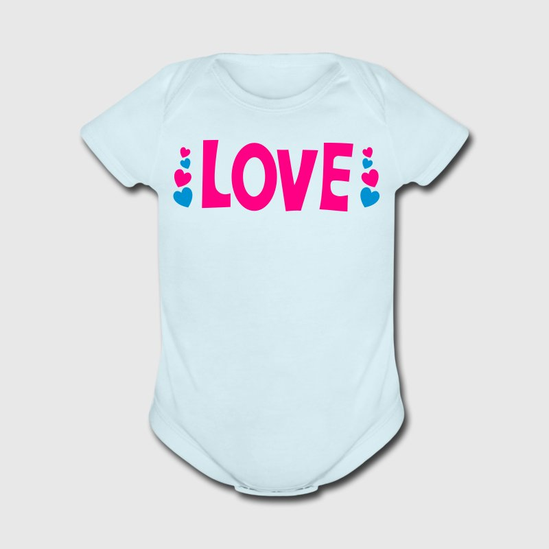 love the word with cute little hearts Baby Bodysuits - Short Sleeve Baby Bodysuit