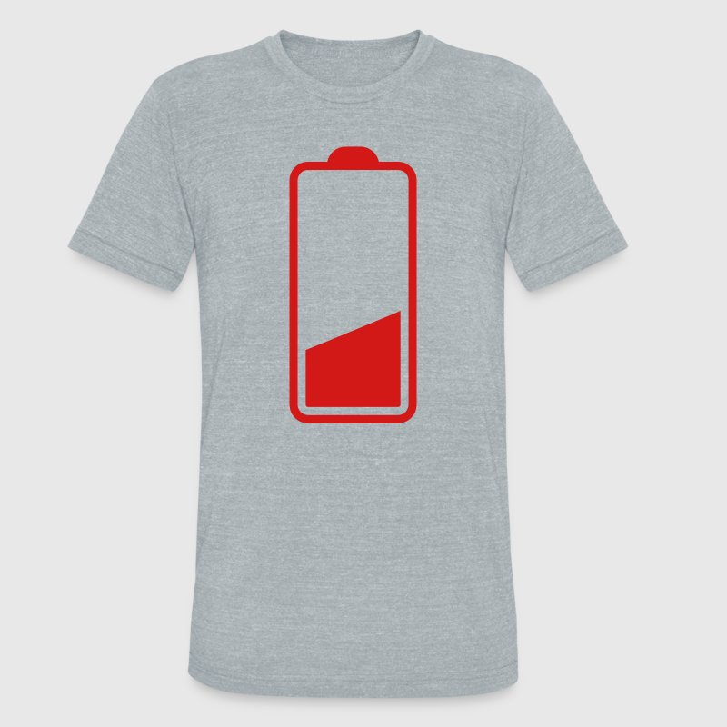 low battery three quarter one quarter batteries running out! T-Shirts - Unisex Tri-Blend T-Shirt by American Apparel