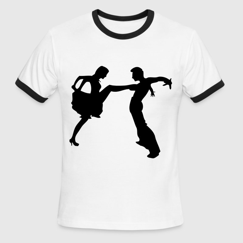 salsa dancer couple silhouette darr T-Shirts - Men's Ringer T-Shirt