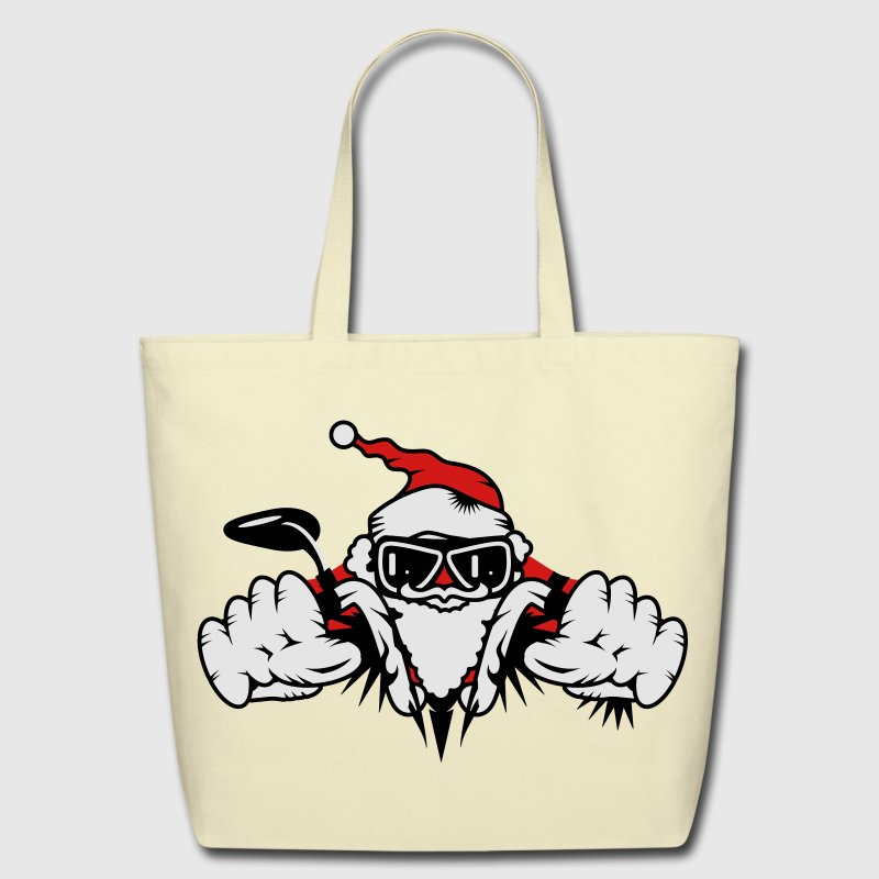 Santa Claus on Motorcycle Bags  - Eco-Friendly Cotton Tote