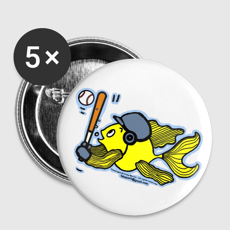 Fish Playing Baseball - Cute Funny Cartoon - Small Buttons