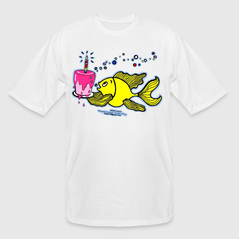 Happy Birthday, Fish with cake and candle  - Men's Tall T-Shirt