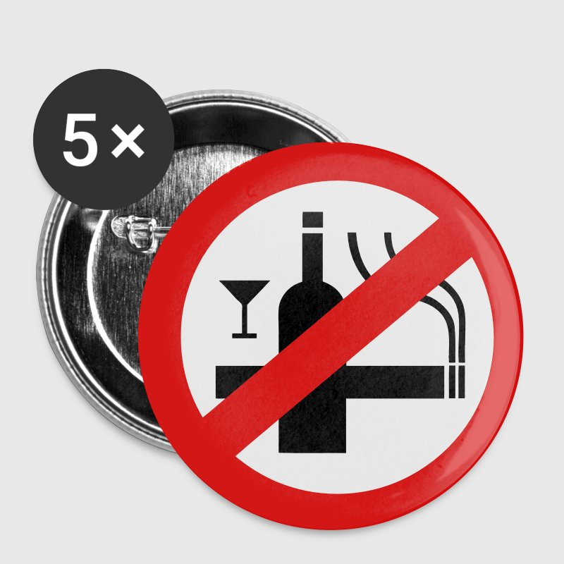 NO Smoking Alcohol Sign - Large Buttons