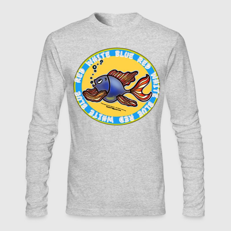 Jeans Fish Red White and Blue  - Men's Long Sleeve T-Shirt by Next Level