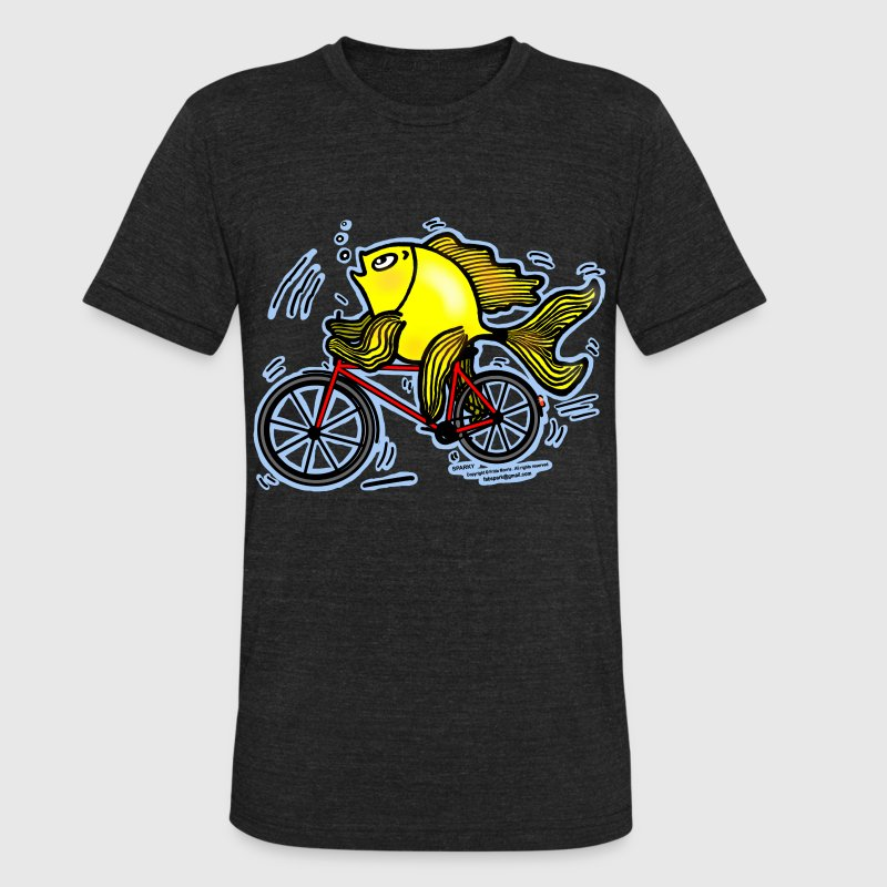 Bicycle Fish , Fish riding a Bicycle  - Unisex Tri-Blend T-Shirt by American Apparel