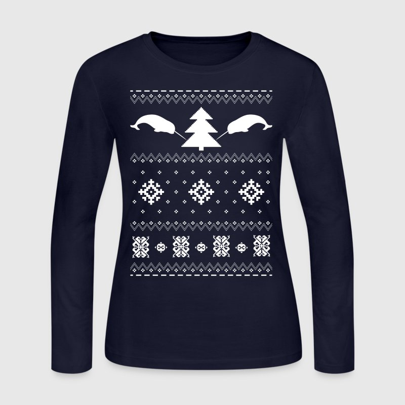 Narwhal Christmas Sweater Long Sleeve Shirt | Spreadshirt