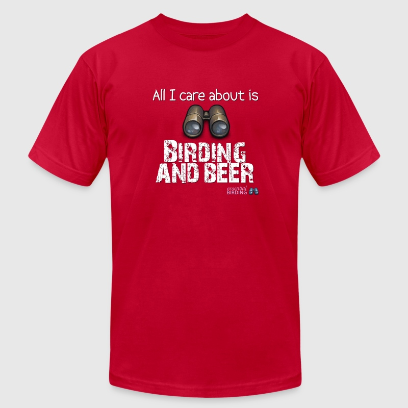 All I Car About is Birding and Beer - Men's Fine Jersey T-Shirt
