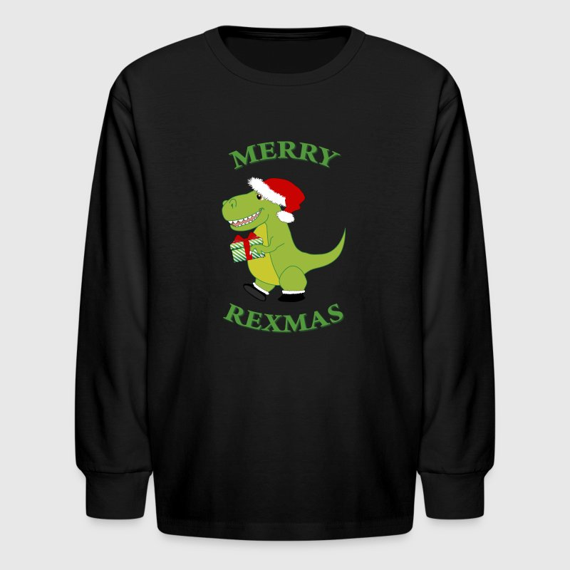 Merry Rexmas Kid's long sleeve t-shirt green font - Kids' Long Sleeve T-Shirt