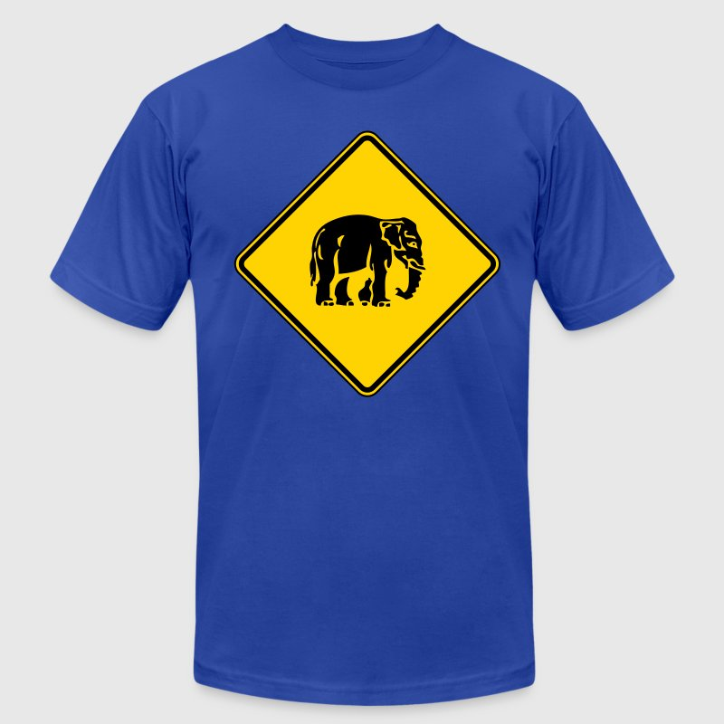 Caution Elephant Crossing Sign - Men's T-Shirt by American Apparel