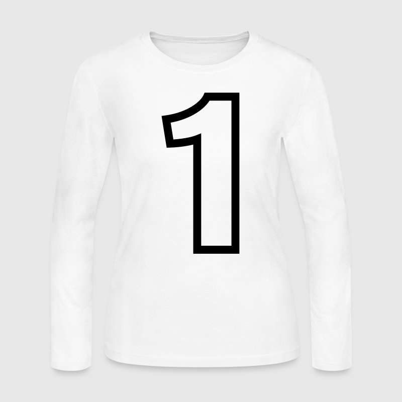 Condensed Number 1 Outline (1c)++ Long Sleeve Shirts - Women's Long Sleeve Jersey T-Shirt