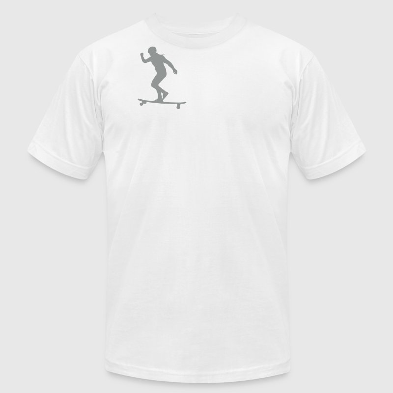 Girl on Longboard Skateboard T-Shirts - Men's T-Shirt by American Apparel